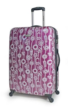 da3b7fb21582 Purple printed hard-sided luggage - fun print 4 tweens - matches w Vera  Bradley s Plum Petals