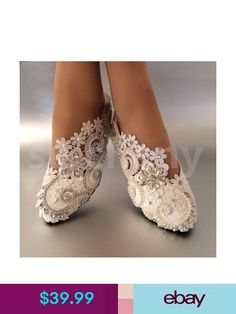 White Ivory Pearls Lace Crystal Wedding Shoes Flat Ballet Bridal Size 5 12