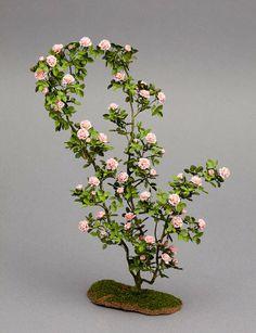 Large climbing rose bush dollhouse miniature by Carol Wagner