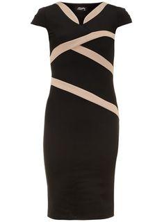 Fever Fish Black Mandarin Collar Dress