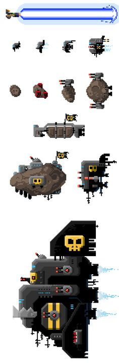 Remember the first tiny pixels spaceships ? I added some stuffs ! And that will probably become a game ! Soon !