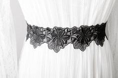 Black Ribbon Lace Sash Belt - Wedding Sash Belt Bridal Sash Belt Bridesmaids Sashes Belts - Flower Ribbon Belt
