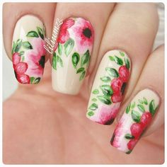 """""""Beautiful flower mani!  This flower mani is inspired by @lynieczka! The base color is #OPI 'My Vampire is Buff'  Hand painted with acrylic paint and…"""""""