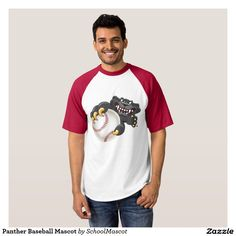Mascota del béisbol de la pantera remeras. Producto disponible en tienda Zazzle. Vestuario, moda. Product available in Zazzle store. Fashion wardrobe. Baseball. Regalos, Gifts. #camiseta #tshirt