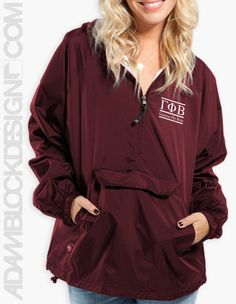 Gamma Phi Beta - Letter Windbreaker (Maroon) by ABD BlockBuy! Just $39 each plus shipping until Feb 2 | Adam Block Design | Custom Greek Apparel & Sorority Clothes | www.adamblockdesign.com