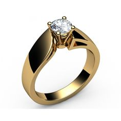 Intertwined Solitaire Diamond Engagement Ring in 18K Yellow gold (3/5 ct.) - Solitaire Diamond Rings