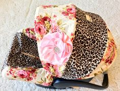Shabby Roses and Leopard Infant Car Seat Cover