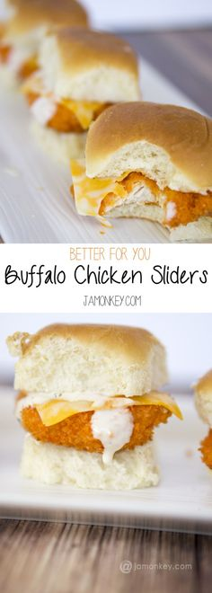 Better for you Buffalo Chicken Sliders recipe. Perfect for Super Bowl parties or just a yummy lunch.