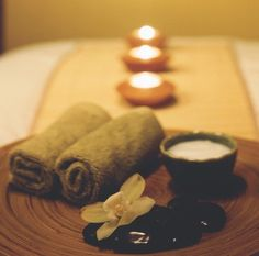 Preparing for aroma therapy massage.