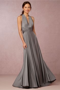 dark grey bridesmaids dresses | Ginger Convertible Maxi Dress in charcoal grey by Two Birds for @BHLDN