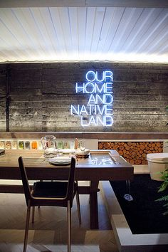 Wish I had a neon sign that said 'Our Home and Native Land'. Studio Mason, Toronto IDS.