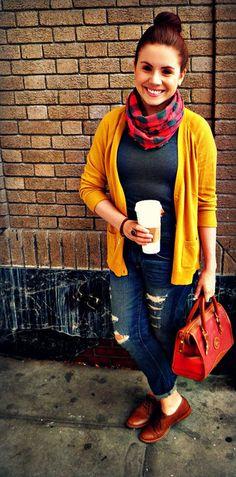 mustard sweater + oxfords