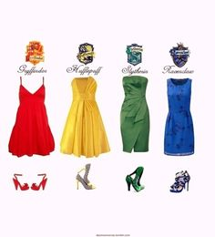 hogwarts house inspired outfits.   I like the -    Dresses: Hufflepuff and Slytherin  Shoes: Gryffindor and Ravenclaw