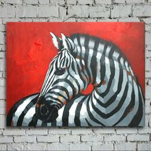 Hand-painted modern wall art picture for living room home decor abstract black white zebra cartoon animal oil painting on canvas(China (Mainland))