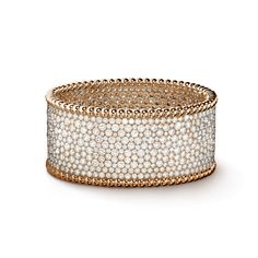 Perlée cuff bracelet with diamonds, medium model, Gold - - Van Cleef & Arpels Van Cleef And Arpels Jewelry, Wedding Band Sets, Models, High Jewelry, Round Diamonds, Jewelry Collection, Cuff Bracelets, Personal Style, Necklaces