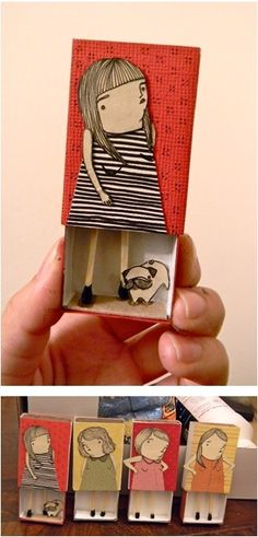 Matchbox illustration by Mai Ly. Could be fun craft /self portrait for kids Matchbox Crafts, Matchbox Art, Kids Crafts, Arts And Crafts, Art Crafts, Paper Dolls, Art Dolls, Altered Art, Altered Tins