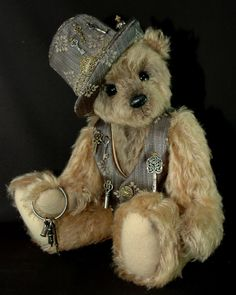 Bozwell - Keeper of the Keys by Bears*n*Bling Old Teddy Bears, 3 Bears, Vintage Teddy Bears, My Teddy Bear, Vintage Toys, Love Bear, Bear Doll, Dolls, Teddy Edwards