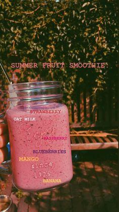 summer19 2019 healthy Yummy Smoothie Recipes, Yummy Smoothies, Breakfast Smoothies, Smoothie Drinks, Frozen Fruit Smoothie, Milkshake Recipes, Comida Diy, Healthy Drinks, Healthy Food