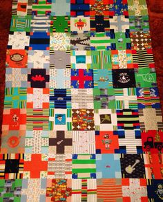 Quilt top made from baby's most precious clothes! Tshirt quilt for baby.