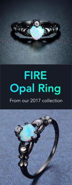 Birthstone Fire Opal Heart Ring