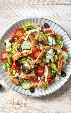 Chicken Gyro Salad with Tzatziki Dressing, Heirloom Tomatoes, and Cucumber | HelloFresh Recipe