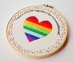 Hand Embroidery Rainbow Heart Quote Hoop Art £52.00