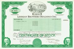 HWPH AG - Historic stock certificates - Lehman Brothers Holdings Inc.
