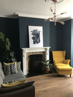 Hague Blue farrow and ball wall paint. Hague Blue farrow and ball wall paint. Dark Living Rooms, New Living Room, My New Room, Living Room Interior, Home And Living, Blue And Copper Living Room, Blue Living Room Walls, Living Room Lamps, Farrow And Ball Living Room