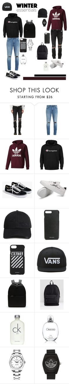 """The winter essentials of 2017 #men #winter"" by yntb ❤ liked on Polyvore featuring RtA, Neuw, adidas Originals, Champion, J.Crew, 21 Men, Prada, Off-White, Vans and Lacoste"