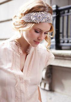 KATNISS argent perlé bandeau élastique avec appliques florales sur Etsy, $73.96