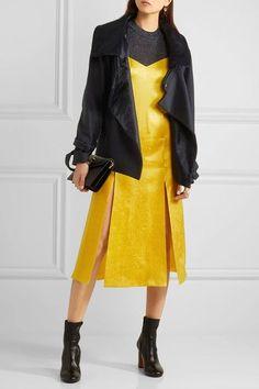 Topshop Unique - Floral Fatale Silk-jacquard Dress - Yellow - UK8