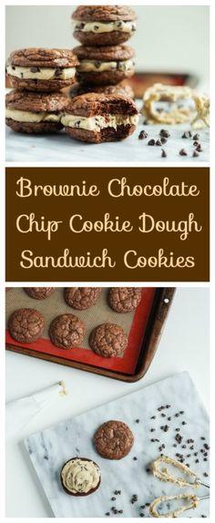 Brownie Chocolate Chip Cookie Dough Sandwich Cookies