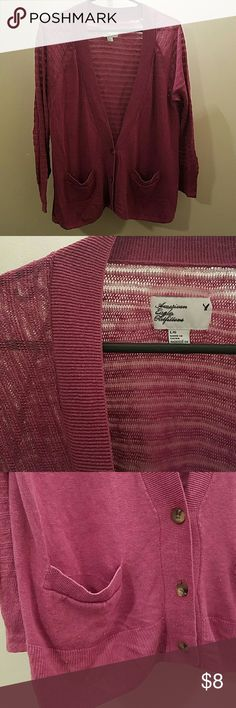 Am. Eagle cardi 3 Button light purple/maroon color cardigan.  Thin fabric, back and sleeves see through pattern. 2 front pockets. No rips or pills American Eagle Outfitters Sweaters Cardigans