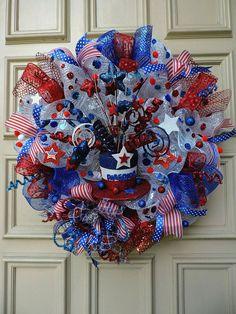 Deco mesh wreath ideas memorial day patriotic of decorations valentine diy dollar tree . Wreath Crafts, Diy Wreath, Wreath Ideas, Wreath Making, Fabric Wreath, Patriotic Wreath, 4th Of July Wreath, Patriotic Crafts, July Crafts