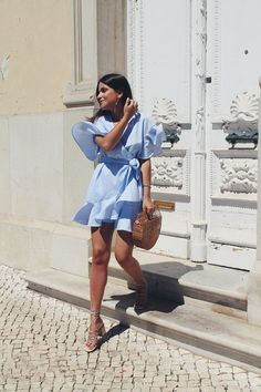 #Summer #outfit wearing romantic blue dress and wood bag. #Style
