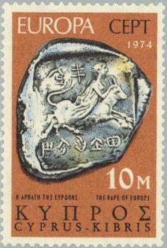 Sello: EUROPA/CEPT Sculptures - The Abduction of Europa (Chipre) (Europa C.E.P.T.) Mi:CY 409,Yt:CY 401
