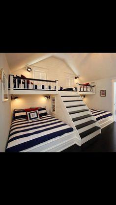 Kids Sleepover Room Noelito Flow Unknown Unknown Unknown Unknown Variety of woo Attic Bedroom Kids, Cool Kids Bedrooms, Attic Bedrooms, Awesome Bedrooms, Cool Rooms, Awesome Beds, Cool Beds For Kids, Boy Bedrooms, Dream Rooms