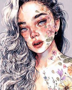 Tattoo girl drawing dibujo 40 New Ideas Art Inspo, Kunst Inspo, Art And Illustration, Illustration Fashion, Portrait Illustration, Art Illustrations, Fashion Illustrations, Bel Art, L'art Du Portrait