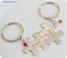 Custom Hand Stamped Puzzle Piece Keychain with Personalized Birthstones - Best Friends Gift for Her Birthstone- Would be even cute for sisters! Best Friend Gifts, Gifts For Friends, My Best Friend, Gifts For Her, Great Gifts, Bestfriends, Besties, Puzzle Crafts, Diy Gifts