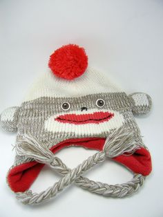 fdedc01205e Sock Monkey Hat Arizona One Size Pom Beanie Cap Warm Knit 100% Acrylic   Arizona