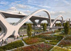 Michael Maltzan's Ribbon of Light Bridge will span the Los Angeles River