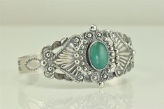 "Native American Silver Products Coin Silver Turquoise Cuff Bracelet 6.5"" #SilverProducts"
