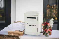"Simple Reception Table with vintage La Poste Post Box as ""angpao"" box"