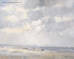 "Roos Schuring New paintings- Seascapes and landscapes plein air: Seascape spring 17 ""Dutch skies"" (available)"