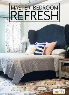 Navy, Blush, Yellow, and Green Master Bedroom Refresh