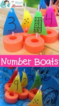 A fun and inexpensive way to work on number recognition, subitizing and other early numeracy skills. Number boats are inexpensive to make and fun for kids! Use them in summer school, at home or in the bathtub! Great for preschool and kindergarten stude Preschool Lessons, Preschool Math, Toddler Activities, Activities For Kids, Numbers For Preschool, Water Crafts Preschool, Preschool Printables, Beach Theme Preschool, Transportation Theme Preschool