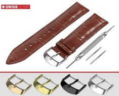 This crocodile leather pattern embossed band in classic padded design made of premium quality genuine calf leather is available with or without buckle. ★ BUCKLE COLORS: Silver, Black, Rose or Yellow Gold ★. Dark Brown Leather, Calf Leather, Hugo Boss Watches, Rotary Watches, Breitling, Seiko, Brown Band, Brown Flats, Rolex
