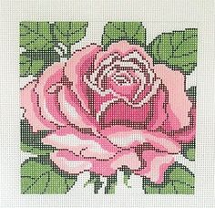 *New* LEE PINK ROSE Flower Series handpainted Needlepoint Canvas on 12 Mesh
