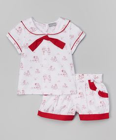 Look at this White & Red On the Beach Sailor Top & Shorts - Infant & Toddler on #zulily today!