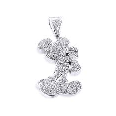 This fantastic 10K Gold Diamond Mickey Mouse Pendant weighs approximately 13 grams and showcases 3.25 ctw of sparkling round diamonds, each masterfully pave set in a lustrous gold frame. Featuring a fully iced out look and a fine gallery back, this fabulous diamond Mickey Mouse pendant is fully customizable and is available in 10K white, yellow and rose gold.